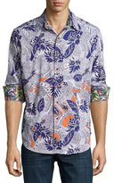 Robert Graham Minicoy Island Tropical-Print Sport Shirt, Multicolor