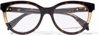 Alexander McQueen Avana Cat-eye Tortoiseshell Acetate Glasses