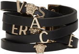Versace Black Leather Logo Bracelet