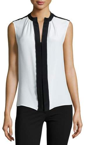 Derek Lam Sleeveless Two-Tone Blouse, Ivory