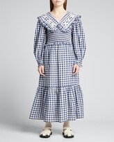 Thumbnail for your product : Sea Gina Gingham Smocked Dress w/ Embroidery