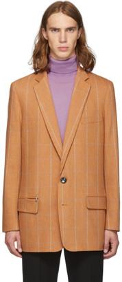 Tibi SSENSE Exclusive Orange Check Wool Long Blazer