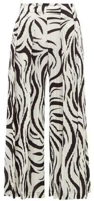Pleats Please Issey Miyake Aroma Zebra-print Pleated Trousers - Womens - White Black