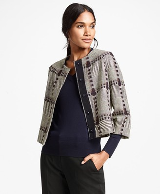 Brooks Brothers Wool-Silk Glen Plaid Cropped Jacket