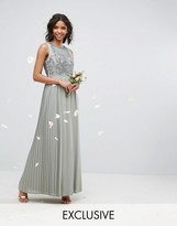 Maya Pleated Maxi Dress With Embellished Bodice
