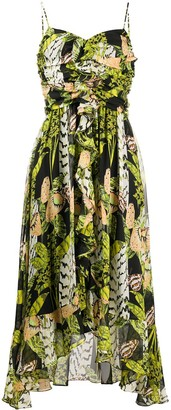 Temperley London Butterfly-Print Ruffle-Trimmed Midi Dress