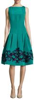 Oscar de la Renta Silk Degrade Embellished Fit And Flare Dress