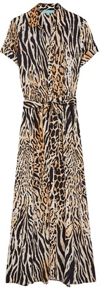 Melissa Odabash Naomi cheetah-print maxi shirt dress