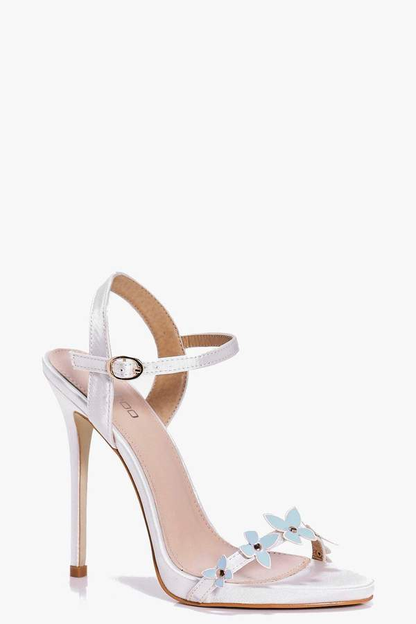 boohoo Phoebe Bridal Butterfly Trim Two Part Sandals blue