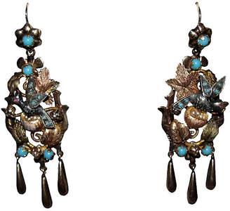 One Kings Lane Vintage French Mid-Victorian Bird Earrings - Treasure Trove NYC