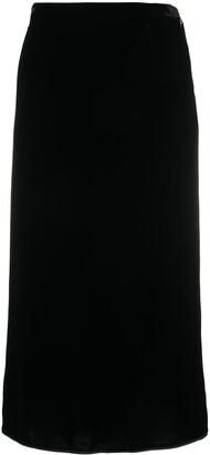 Rochas Draped-Back Velvet Skirt