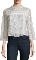 Romeo & Juliet Couture Floral-Lace 3/4-Sleeve Blouse, Ivory
