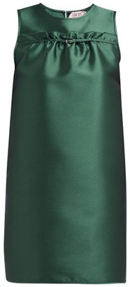 No.21 No. 21 - Ruffled Satin Mini Dress - Womens - Dark Green