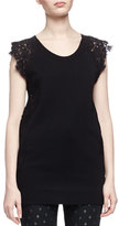 Chloé Scoop-Neck Lace-Detail Top, Black