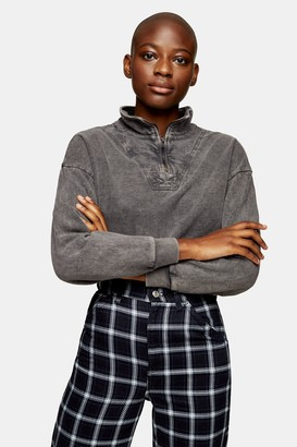 Topshop Womens Grey Acid Wash Zip Neck Funnel Sweatshirt - Grey