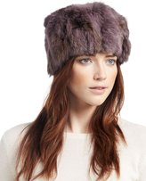 Adrienne Landau Knit Rabbit Fur Hat, Mauve