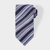 Paul Smith Men's Navy Multi-Coloured Diagonal Stripe Silk Tie