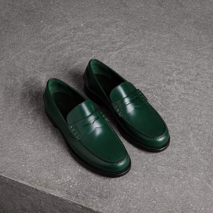Burberry Leather Penny Loafers , Size: 40.5, Green