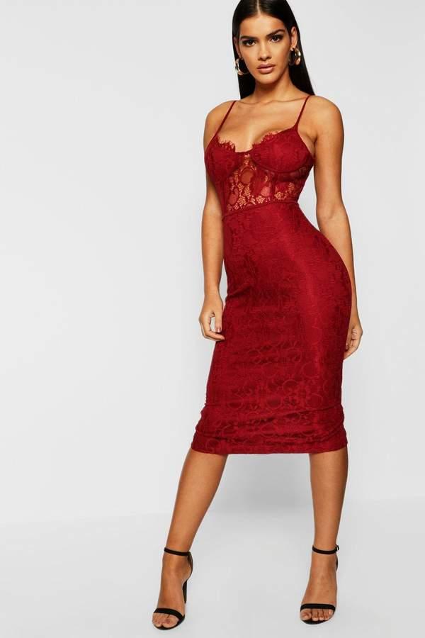 7baee8630469 boohoo Red Lace Midi Dresses - ShopStyle