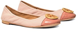 Tory Burch Women's Minnie Logo Cap Toe Ballet Flats