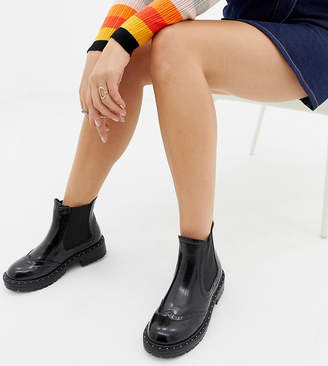 Truffle Collection Wide Fit Chunky Chelsea Ankle Boots