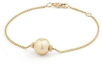 David Yurman Solari Single Station Bracelet in 18K Gold with Diamonds and South Sea Yellow Cultured Pearl