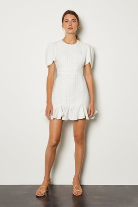 Karen Millen Puff Sleeve Ruffle Hem Mini Dress