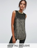 ASOS Tall ASOS TALL Sequin Longline Sleeveless Top With Rib Neck
