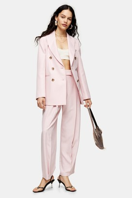 Topshop Womens Pink Marl Slouch Suit Trousers - Pale Pink