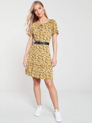 Very Printed Milkmaid Jersey Dress - Mustard