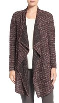 Chaus Tweed Stripe Open Front Cardigan