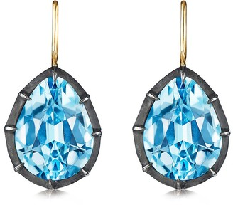 Fred Leighton 18kt yellow gold and oxidised sterling silver Signed blue topaz drop earrings