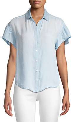 Bella Dahl Ruffle Short-Sleeve Chambray Shirt