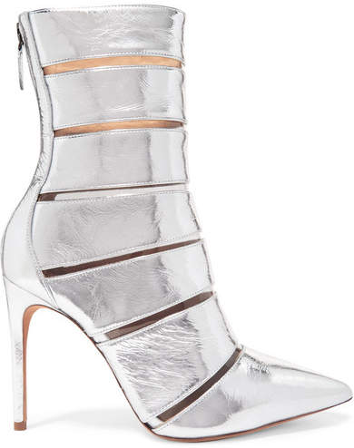 Alexandre Birman Sommer Metallic Leather And Perspex Ankle Boots - Silver