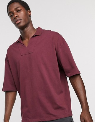 ASOS DESIGN oversized heavyweight overhead retro style polo in burgundy