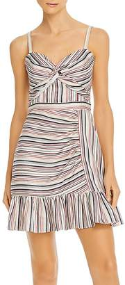 Parker Risa Sleeveless Striped Twist-Front Dress