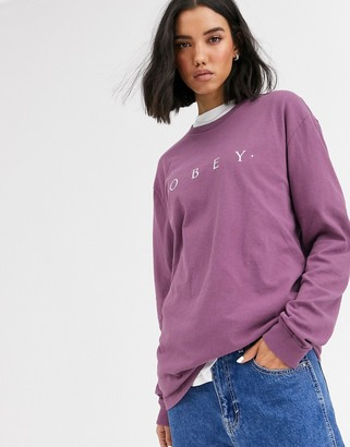 Obey relaxed long sleeve t-shirt with front logo