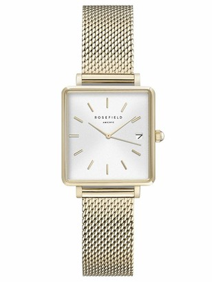 ROSEFIELD Women's Watch The Boxy XS: Silver 22 * 24mm Square Case with White Dial and Silver Strap - QMWMS-Q038