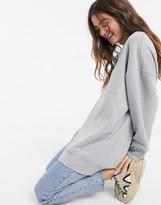 Monki Beata long oversize sweatshirt in grey