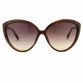 Linda Farrow Burgundy Cat-Eye Acetate Sunglasses