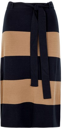 S Max Mara Danza striped wool midi skirt