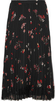 RED Valentino Pleated Floral-print Chiffon Skirt - Black
