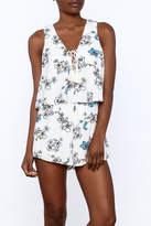 Hommage White Floral Romper
