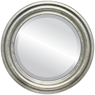 """The Oval And Round Mirror Store Philadelphia Framed Round Mirror in Silver Leaf w/ Brown Antique, 17""""x"""