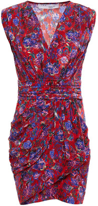 IRO Swing Wrap-effect Printed Silk Crepe De Chine Mini Dress