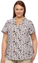 Croft & Barrow Plus Size Printed Pintuck Blouse