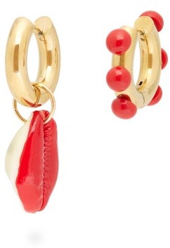 Timeless Pearly Mismatched Cowry-shell Gold-plated Earrings - Pink