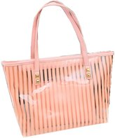 Donalworld Woen Strip Candy Satchel Clear Transparent Beach Tote Jelly Shoulder Bag