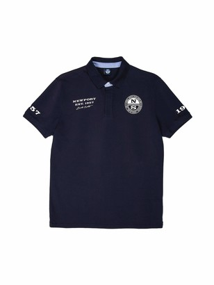 North Sails Men's Polo Shirt in Navy Blue Cotton Pique with Short Sleeves and Front Button Placket - XXL