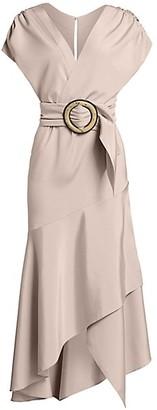 Silvia Tcherassi Protea Belted Stretch-Silk Wrap Midi Dress